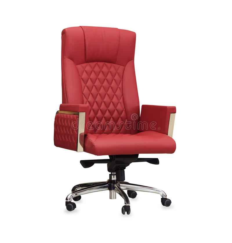 Kontorsstolen från rött läder isolerat royaltyfria bilder