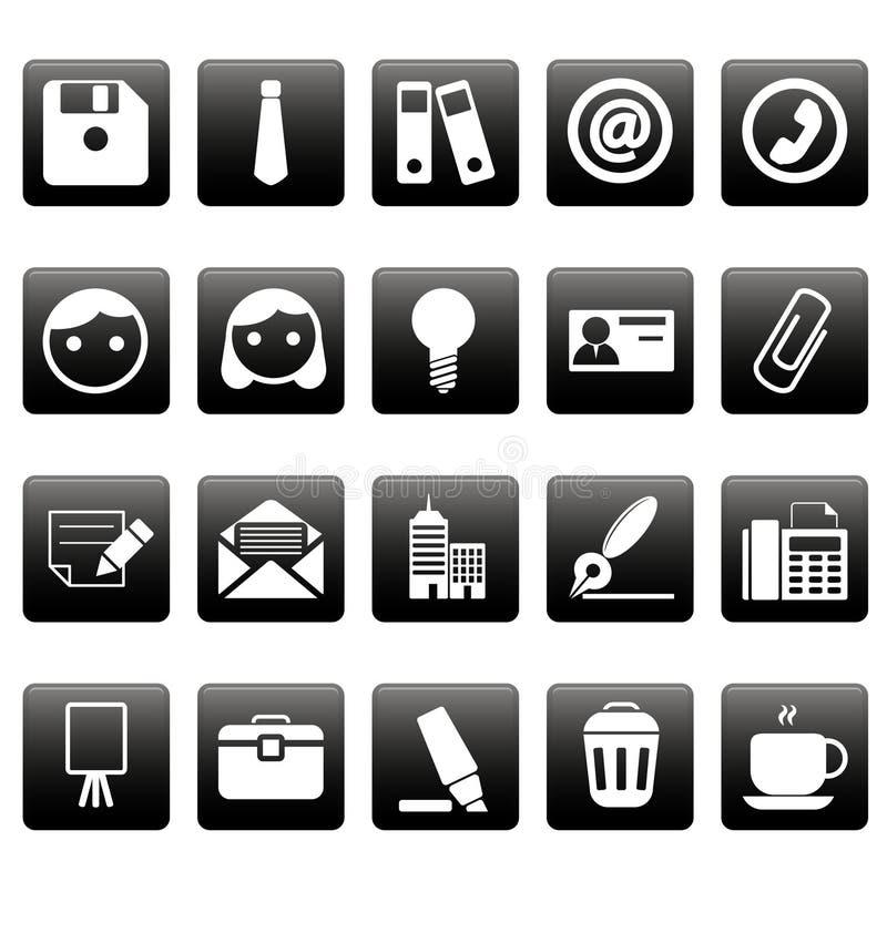 Kontorssymboler på svarta fyrkanter royaltyfri illustrationer