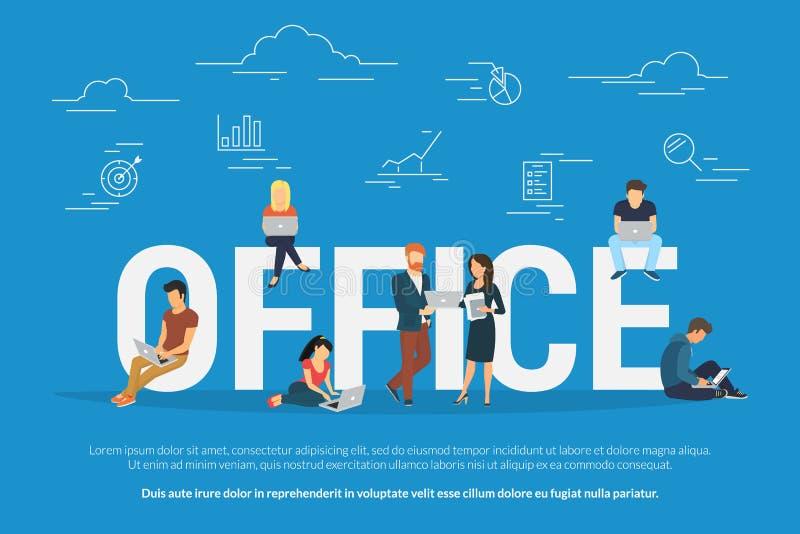 Kontorsteamwork och målvektorillustration av folk som tillsammans arbetar royaltyfri illustrationer