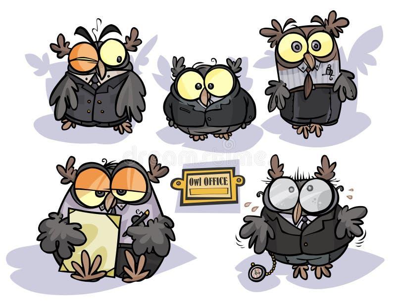 Kontorsugglor stock illustrationer