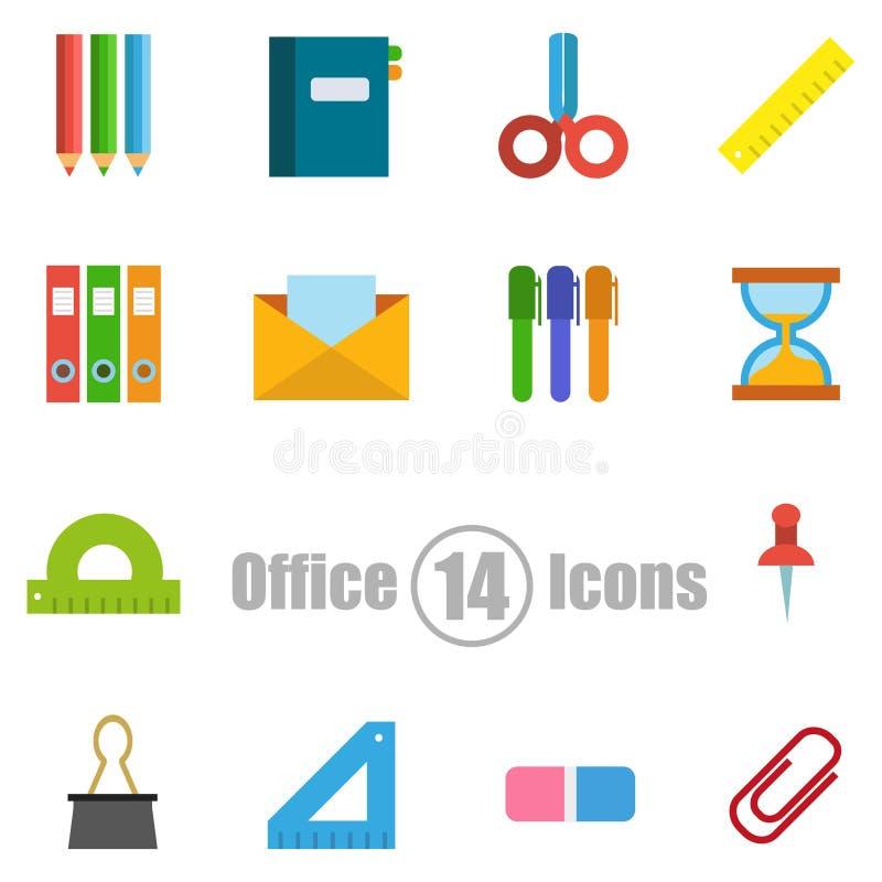 Kontorsuppsättning av 14 symboler i en plan stil vektor illustrationer