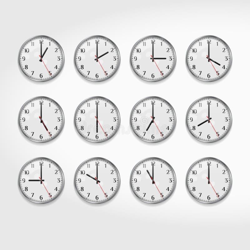 Kontorsväggklockor som visar tiderna av dagen Rund klocka för vägg för kvartsmotsvarighet Klockaframsida med arabiska tal ljus ve vektor illustrationer