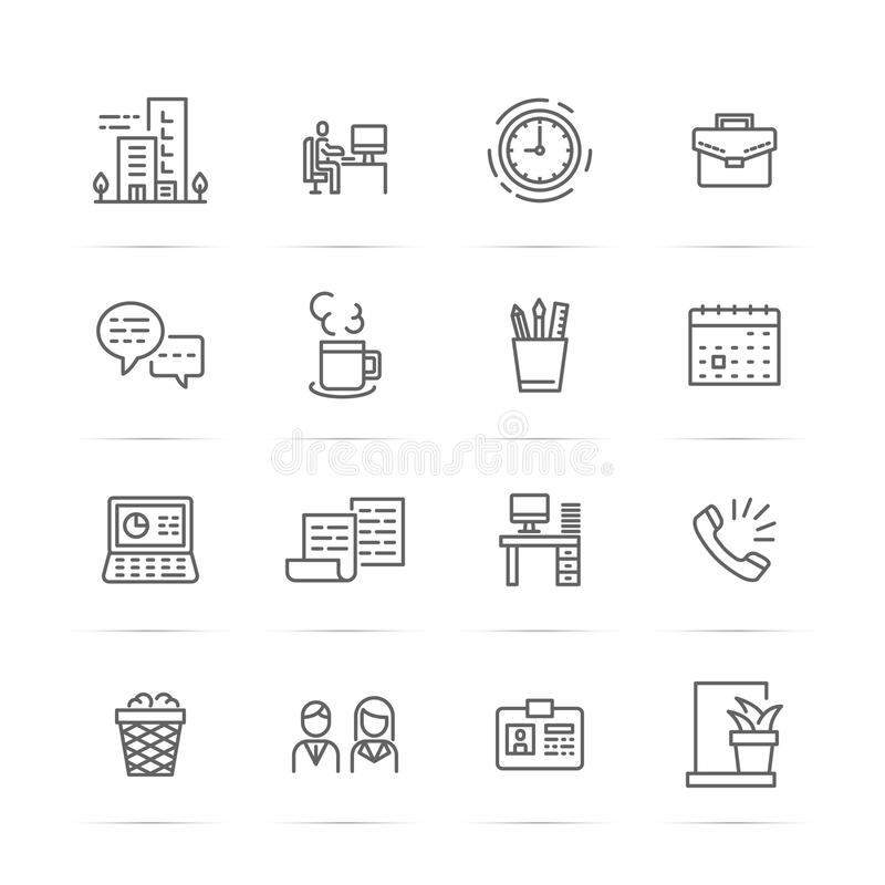 Kontorsvektorlinje symboler vektor illustrationer