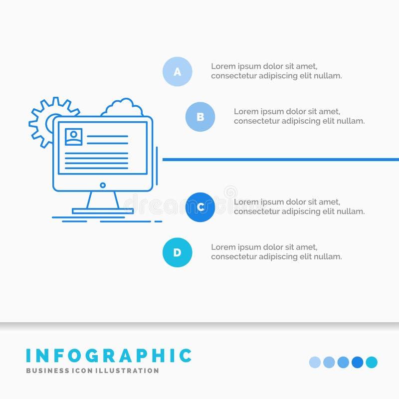 Kontot profilen, rapport, redigerar, uppdaterar den Infographics mallen f?r Website och presentation Linje infographic stilvektor royaltyfri illustrationer
