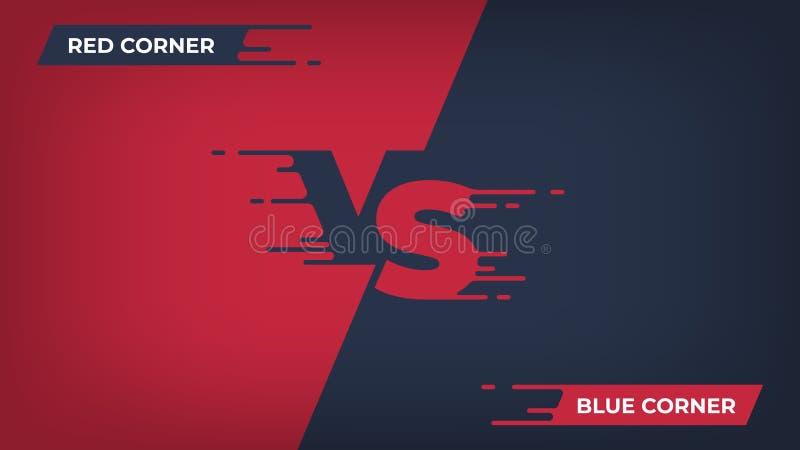 Kontra bakgrund Sportkonkurrens VS affischen, för stridduell för modig kamp begrepp, blå röd lagdesign Vektor kontra royaltyfri illustrationer