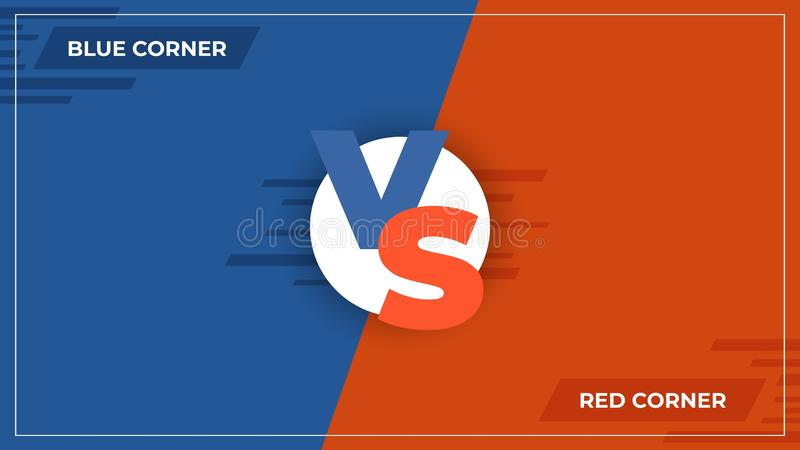 Kontra bakgrund VS jämförelselogo, komiskt begrepp för sportkonkurrens, modiga stridblått och den röda lagaffischen vektor stock illustrationer