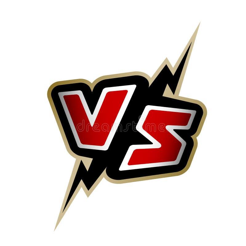 Kontra bokstäver VS logo stock illustrationer