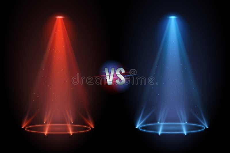 Kontra däcka Golv för sockel för stridprojektor skinande för vs boxningkonfrontationmatch också vektor för coreldrawillustration stock illustrationer