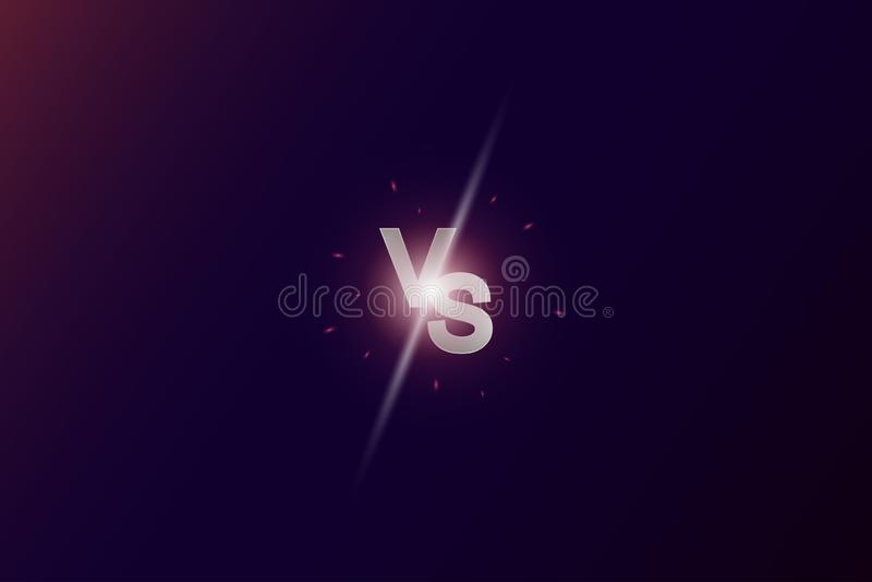 Kontra logo VS bokstäver för sportkonkurrens kamp, modig strid Gl?dande neonbakgrund stock illustrationer