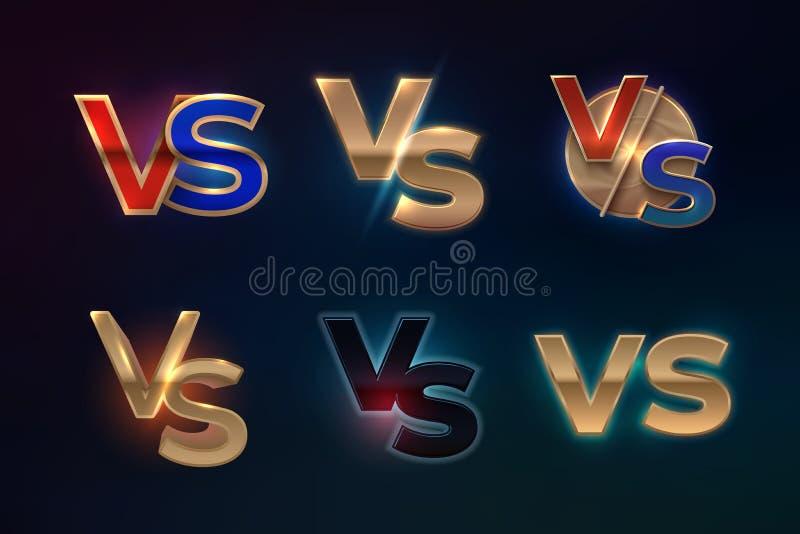 Kontra logouppsättning VS bokstäver för sportkonkurrens skärm för match för Muttahida- Majlis-E-Amalboxningkamp, modigt begrepp F vektor illustrationer