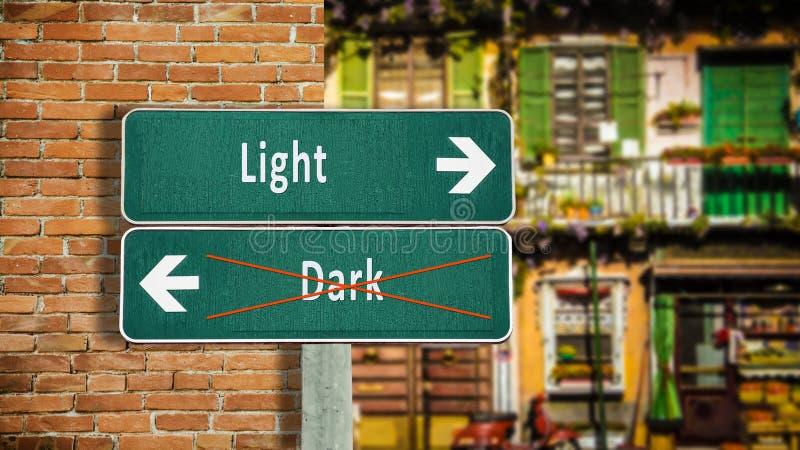 Kontra mörkt ljus för gatatecken royaltyfri fotografi