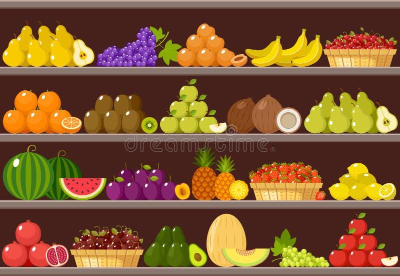 Kontra med frukter supermarket stock illustrationer