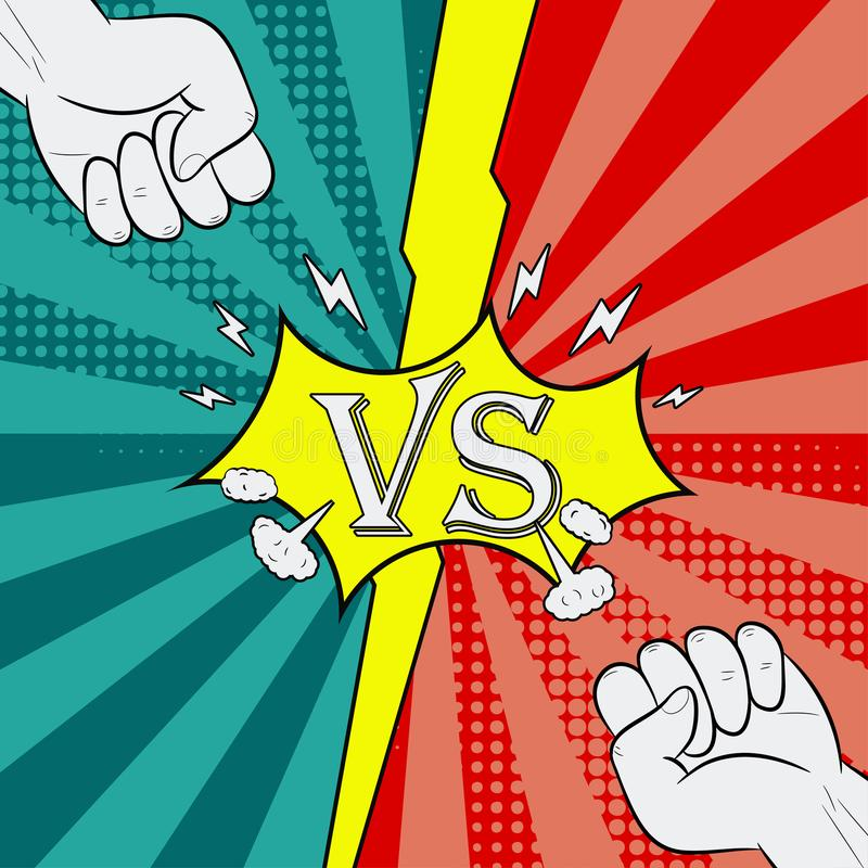 Kontra med nävestridighetbakgrund av komisk stil Introsida av hjältestriden vektor vektor illustrationer
