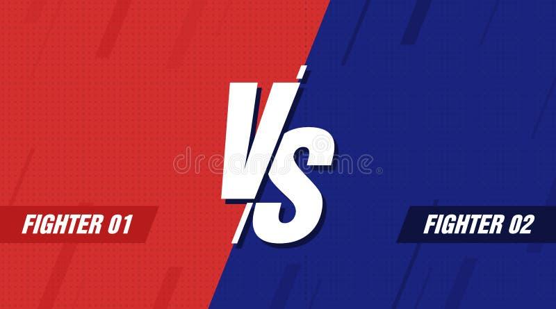 Kontra skärm Vs stridrubrik, konfliktduell mellan röda och blåa lag Konfrontationkampkonkurrens vektor royaltyfri illustrationer