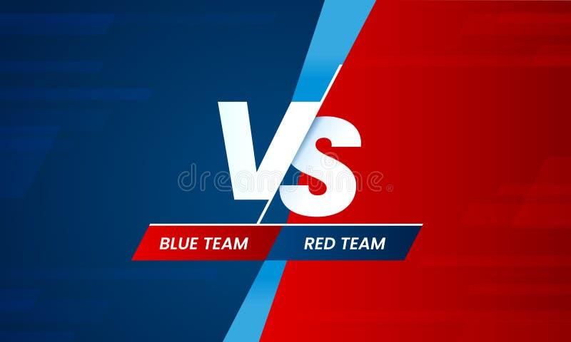 Kontra skärm Vs stridrubrik, konfliktduell mellan röda och blåa lag Vektor för konfrontationkampkonkurrens royaltyfri illustrationer