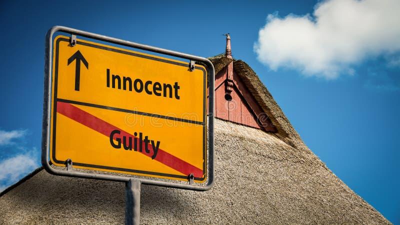 Kontra skyldig oskyldig för gatatecken stock illustrationer