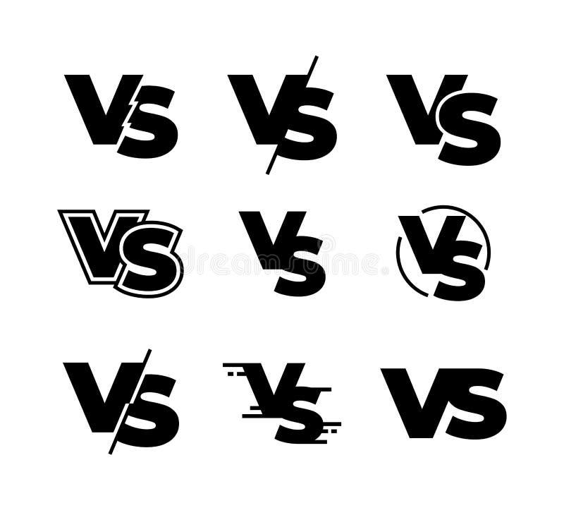 Kontra svarta logoer Utmaningen VS tecknet, symboler för konkurrens för sportmatch svarta isolerade, slåss modigt tecken Vektor k stock illustrationer