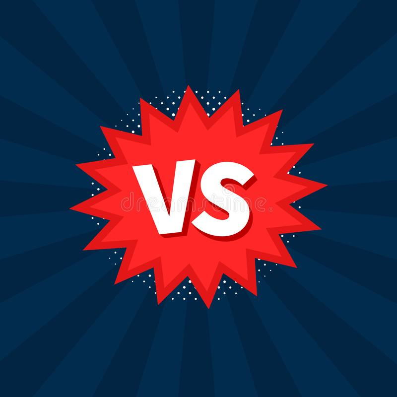 Kontra VS bokstäver slåss bakgrunder, i plana komiker utformar design också vektor för coreldrawillustration royaltyfri illustrationer