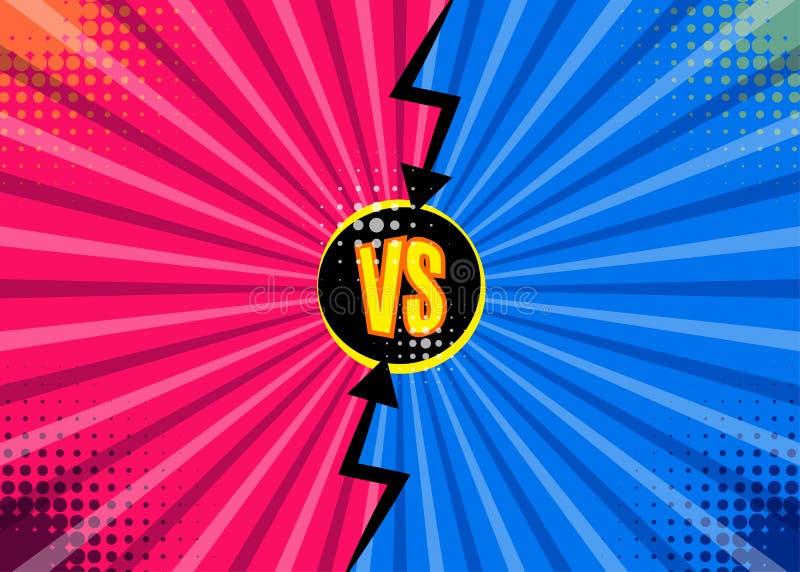 Kontra VS bokstäver utformar kampbakgrunder i plana komiker desig royaltyfri illustrationer
