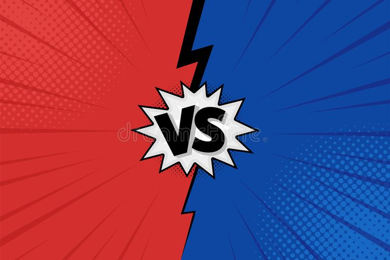 Kontra VS bokstäver utformar kampbakgrunder i plana komiker design med halvton, blixt vektor vektor illustrationer
