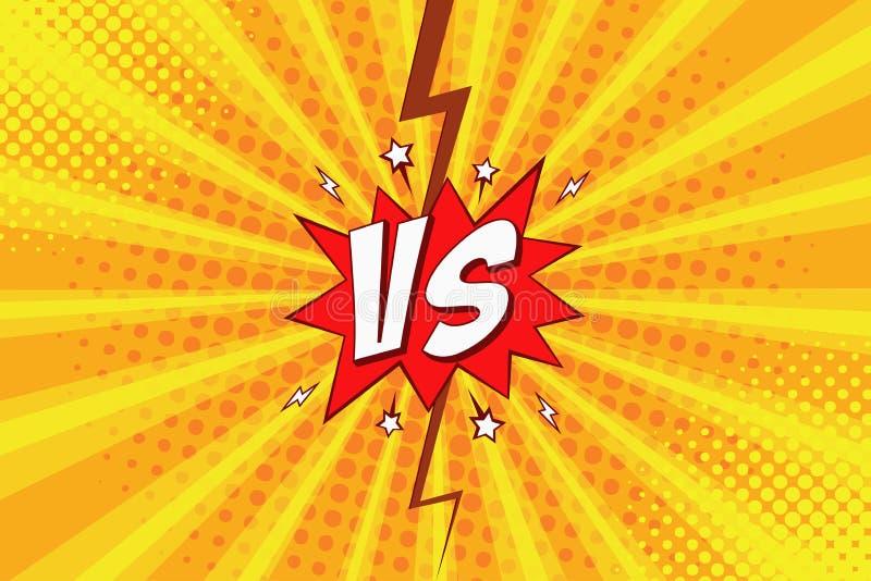 Kontra VS komisk bakgrund för popkonst med halvton och blixt för intro av superherokampen vektor vektor illustrationer
