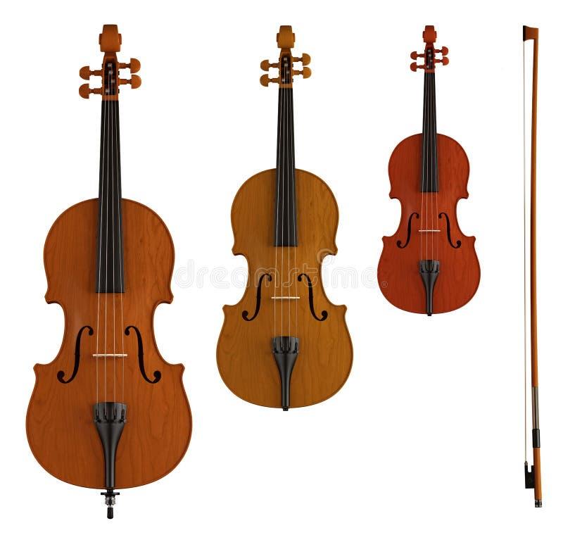 Kontrabass, Viola und Violine lizenzfreie abbildung