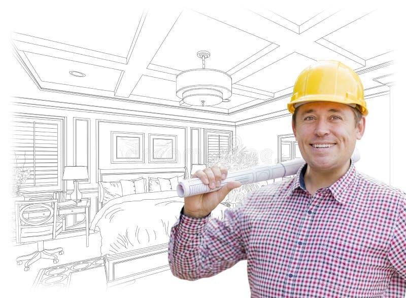 Kontrahent w Ciężkim kapeluszu Nad Obyczajowym sypialnia rysunkiem obrazy royalty free