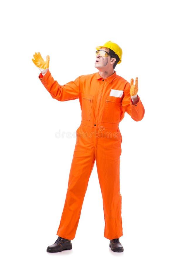 Kontrahenta pracownik jest ubranym coveralls odizolowywających na bielu obrazy stock