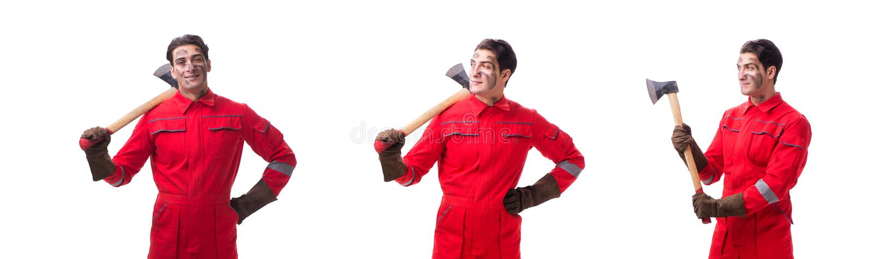 Kontrahenta pracownik z cioską na białym tle obraz stock