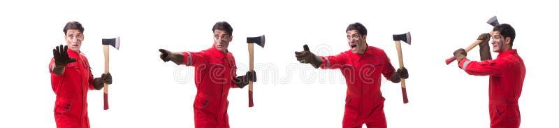 Kontrahenta pracownik z cioską na białym tle zdjęcie stock