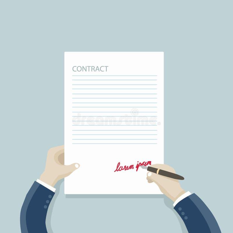 Kontrakt: biznesmen wręcza podpisywać kontrakt: fotografia stock