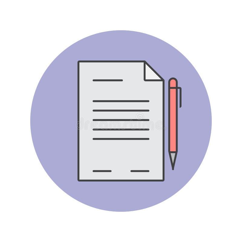 Kontrakt cienka kreskowa ikona, dokument wypełniał konturu loga wektorową bolączkę ilustracji