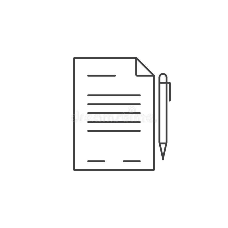 Kontrakt cienka kreskowa ikona, dokumentu konturu loga wektorowy illustrati ilustracja wektor