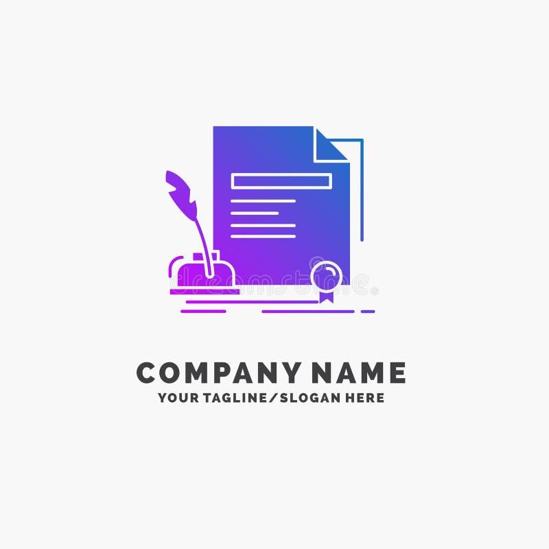kontrakt, papier, dokument, zgoda, nagroda logo Purpurowy Biznesowy szablon Miejsce dla Tagline royalty ilustracja