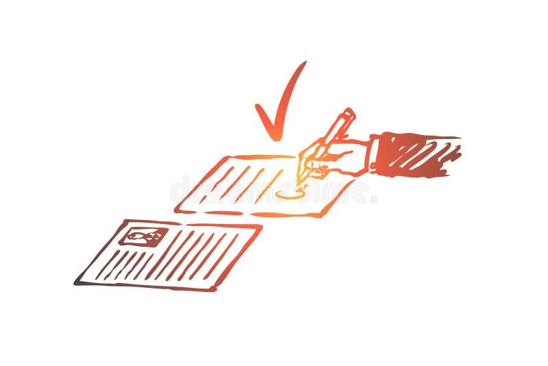 Kontrakt, zgoda, dokument, papier, podpisu pojęcie Ręka rysujący odosobniony wektor ilustracji