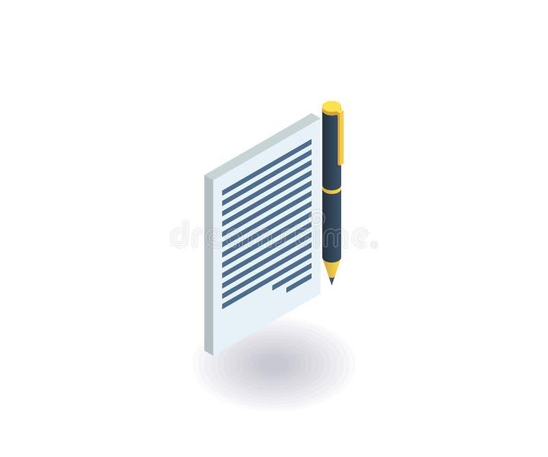 Kontraktacyjna ikona Wektorowa ilustracja w płaskim isometric 3D stylu ilustracja wektor