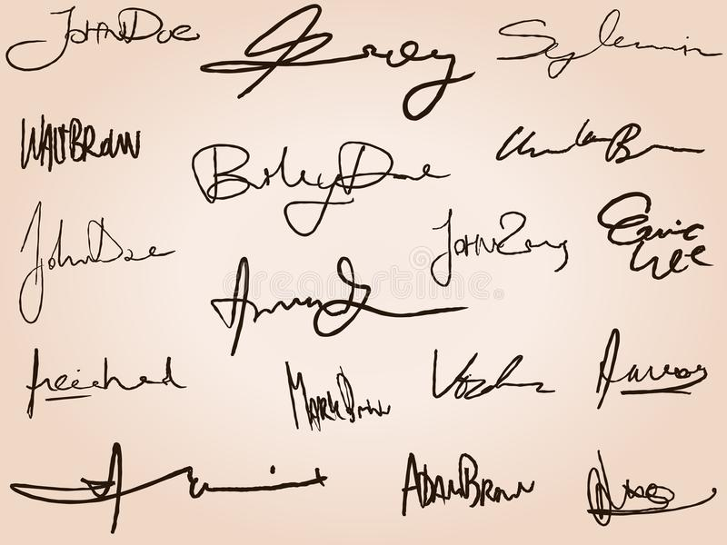 Kontraktacyjni podpisy ilustracja wektor