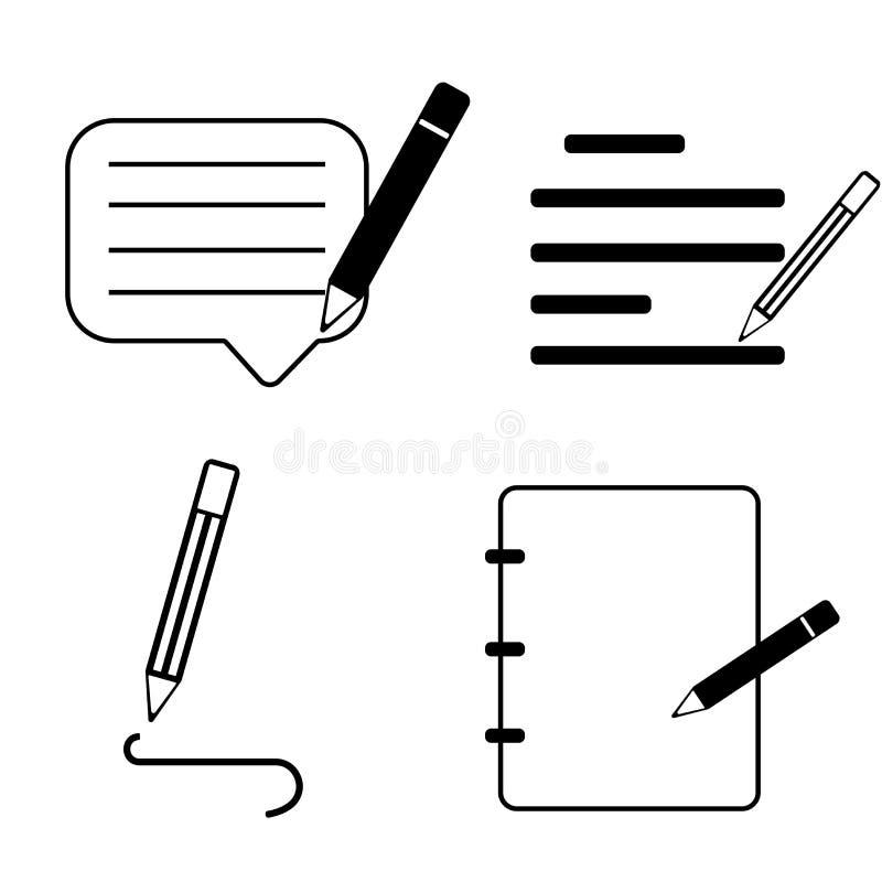 Kontraktacyjny dokument z pióro biznesu ikoną ilustracji