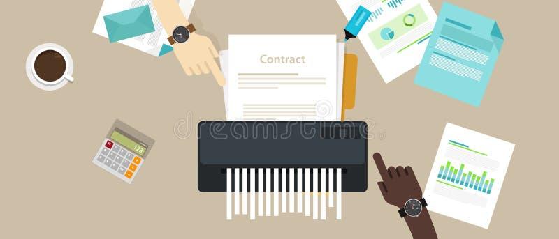 Kontraktacyjny kasowanie łamający niepowodzenie zgody papierowego rozdrabniacza firmy biznes żadny transakcja ilustracji