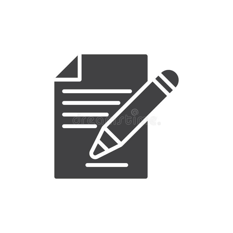 Kontraktacyjny podpisywania, dokumentu i ołówek ikony wektor, wypełniający mieszkanie znak, stały piktogram odizolowywający na bi royalty ilustracja