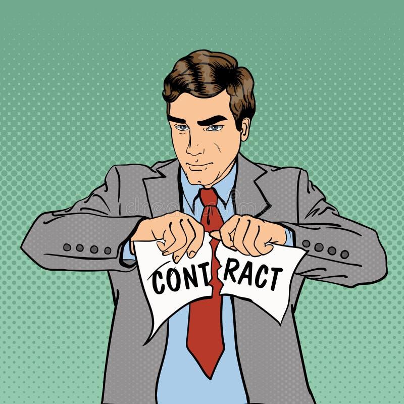 Kontraktsbrott allvarlig affärsman Popkonst stock illustrationer