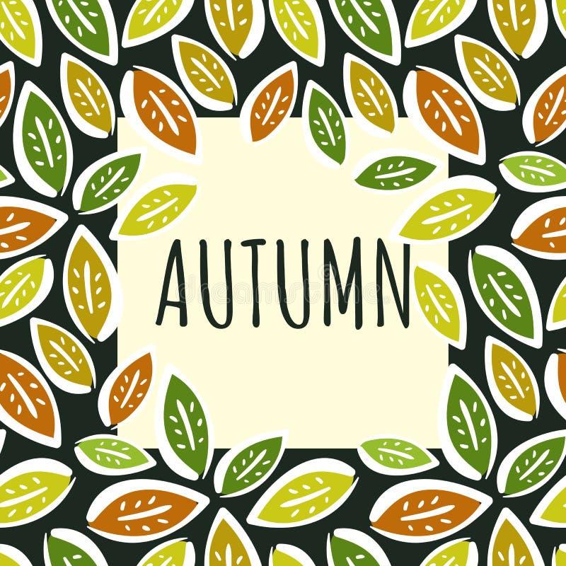 Kontrast jesieni rama z ręka rysującymi liśćmi ilustracji