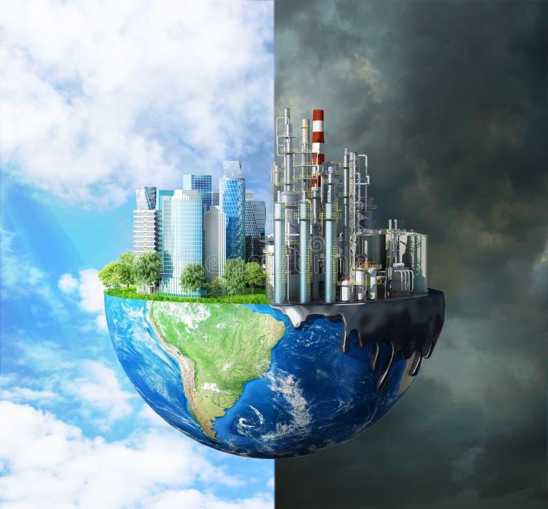 kontrast między czystą naturą, jasnym niebem, drzewami i zanieczyszczającymi miastami, z dużymi budynkami i royalty ilustracja