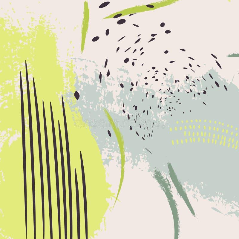 Kontrasta grunge pluśnięcia neonowy zielony wektor Jaskrawego koloru żółtego popielaty wzór z dynamicznymi nowożytnymi abstrakcjo ilustracji