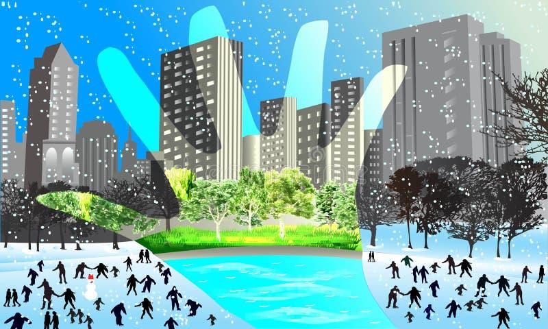 kontrasta lato i zima ilustracji