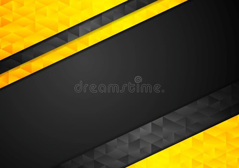 Kontrasta pomarańczowy czarny korporacyjny poligonalny tło royalty ilustracja