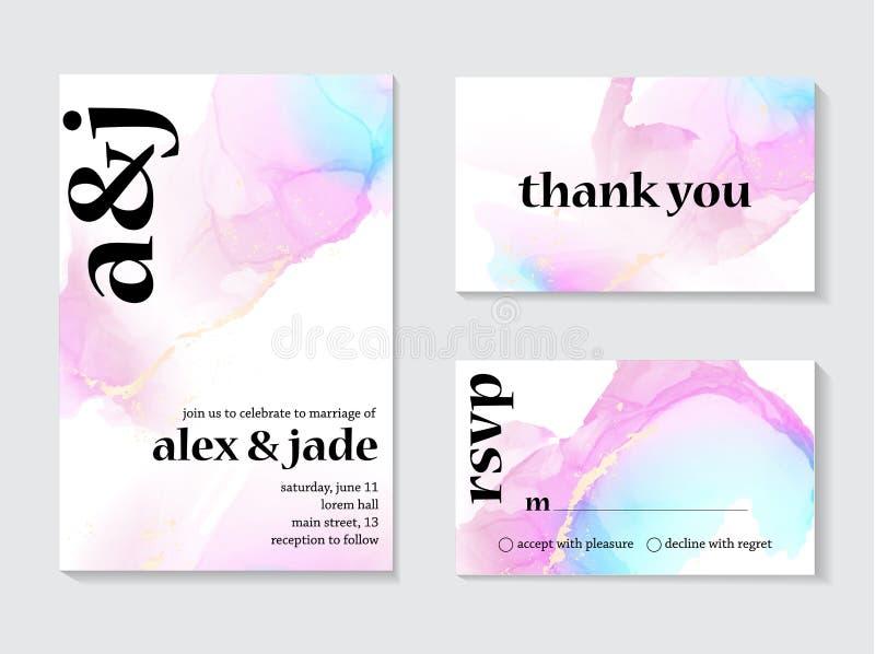 Kontrasta zaproszenia holograficzny ślubny projekt Miłość szablonu karty z gradient menchii błękitną dekoracją, pastel błyskają i ilustracji