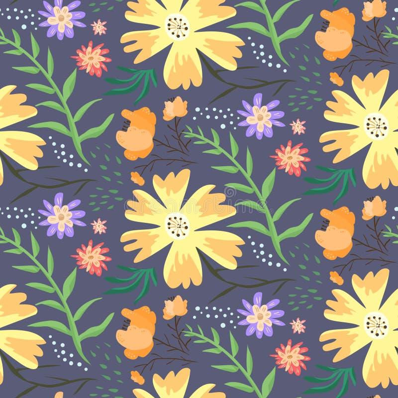 Kontrastblumensommermuster mit orange Blumen lizenzfreie abbildung