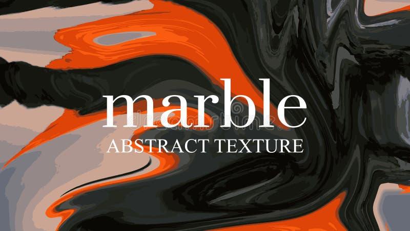 Kontrastieren Sie flüssigen orange schwarzen Hintergrund Helle Marmorierunggraphik Bunte moderne Fahne, Darstellungsschablone obe stock abbildung