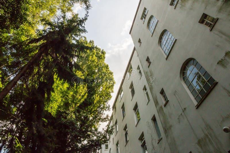 Kontrastieren Sie und Spannung zwischen menschlichen Wohnungen und Natur in einem Hinterhof stockfotos